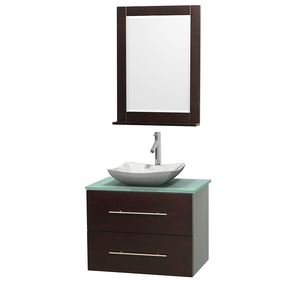 Centra 30 in. Vanity in Espresso with Glass Vanity Top in