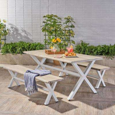 Cadiz Light Gray and White 3-Piece Wood Outdoor Dining Set