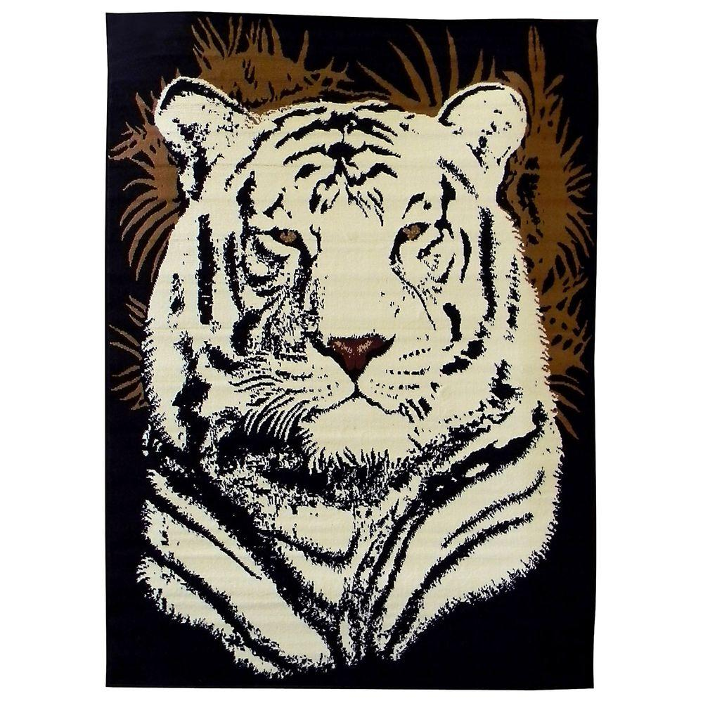 DonnieAnn African Adventure White Tiger Head Black 5 ft. x 7 ft. Indoor Area Rug