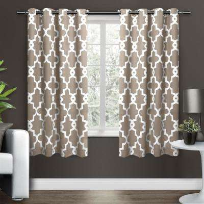 Ironwork 52 in. W x 63 in. L Woven Blackout Grommet Top Curtain Panel in Taupe (2 Panels)