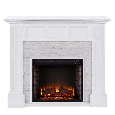 Elaine 48 in. Faux Stone Media Electric Fireplace in White