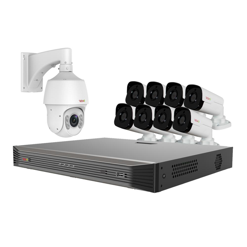 Revo Ultra Commercial Grade 16-CH 4K 3TB Smart NVR Video Surveillance System with 8 4MP Bullet and 22x PTZ Cameras