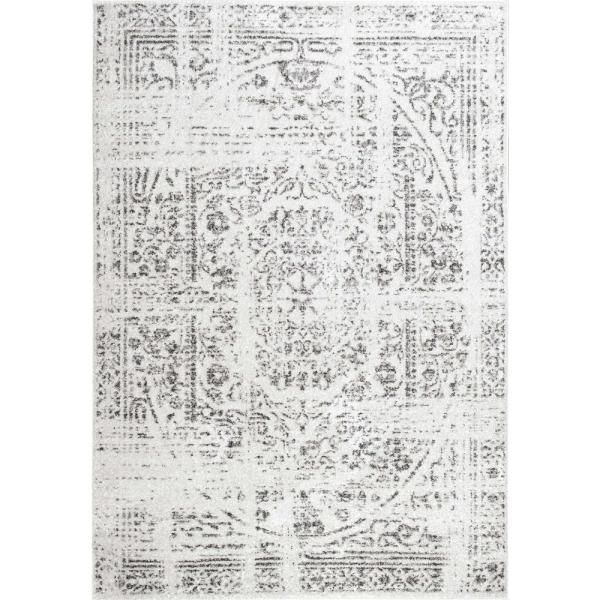 Arlena Distressed Persian Medallion Gray 12 ft. x 18 ft. Area Rug