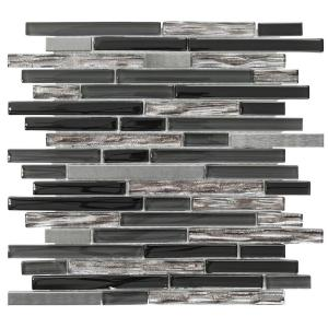 Materialized Gray 11.375 in. x 11.75 in.  Interlocking Mixed Glass and Metal Mosaic Tile (.928 sq. ft./Each)