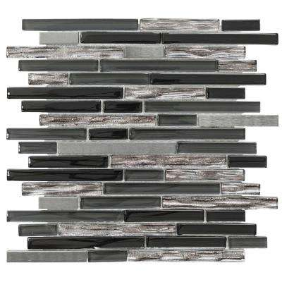 Materialized 12 in. x 12.25 in. x 8 mm Glass/Metal Mosaic Wall Tile
