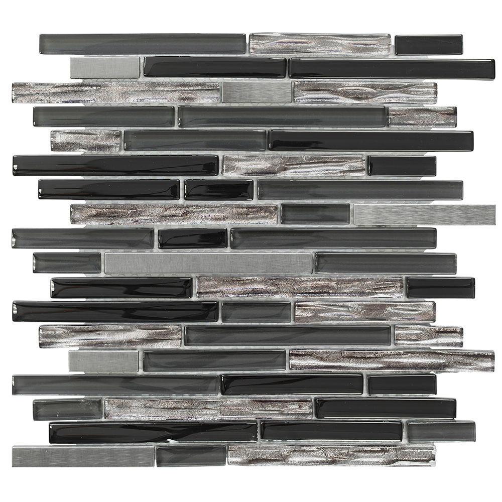 Jeffrey Court Materialized 12 in. x 12.25 in. x 8 mm Glass/Metal Mosaic Wall Tile