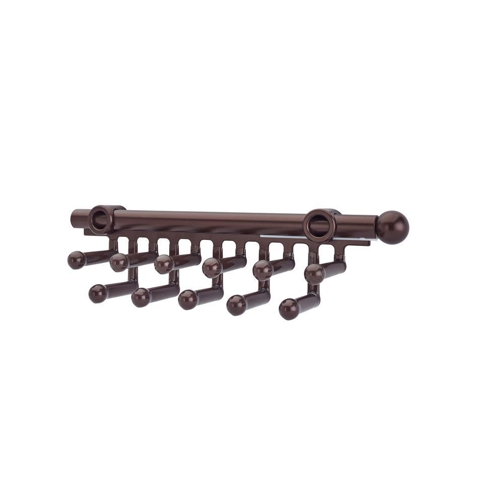 3 in. H x 3 in. W x 11.875 in. D Oil Rubbed Bronze Pull-Out 11-Hook Tie/Scarf Rack