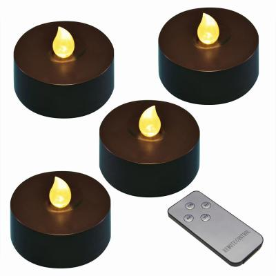Black Battery Operated Extra Large Tea Lights with Remote Control and 2-Timers (4-Count)