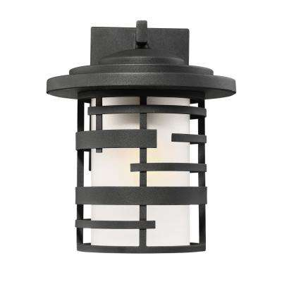1-Light Textured Black Outdoor Wall Mount Lantern with Etched Glass