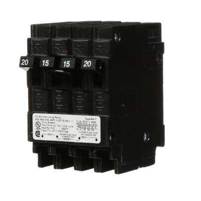 20 Amp Double-Pole and Two 15 Amp Single-Pole Type MH-T Triplex Circuit Breaker