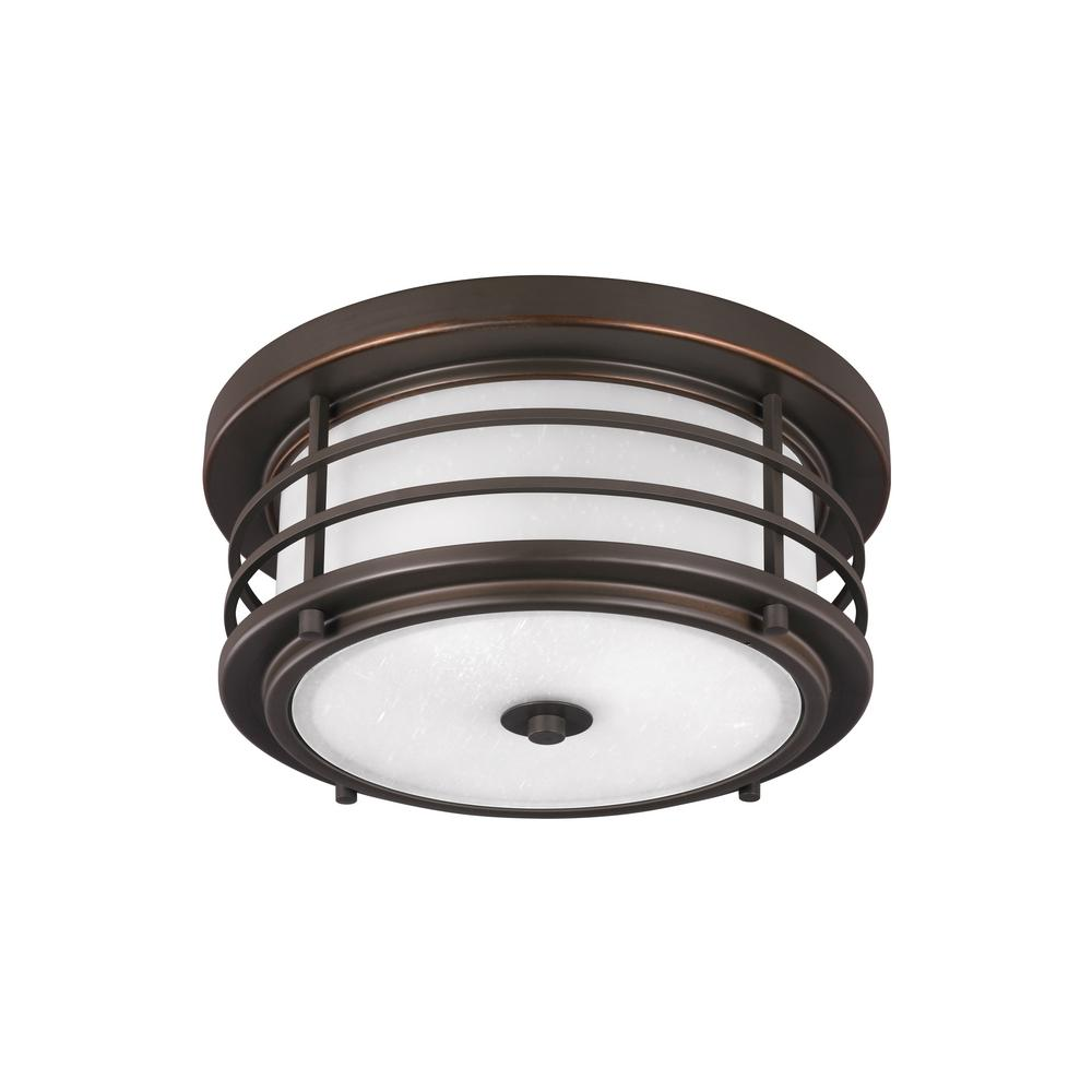 Hampton Bay White 2 Light Outdoor Flush Mount Wb0323 The