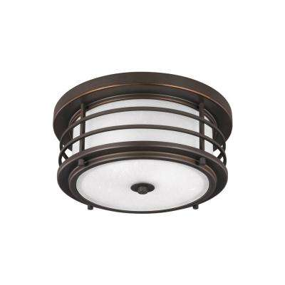 Sauganash Antique Bronze 2-Light Outdoor Flush Mount with LED Bulbs
