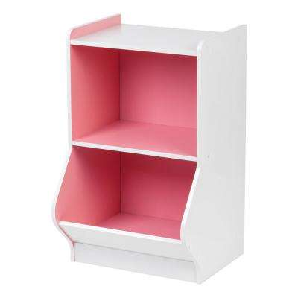 White and Pink 2-Tier Storage Organizer Shelf with Footboard