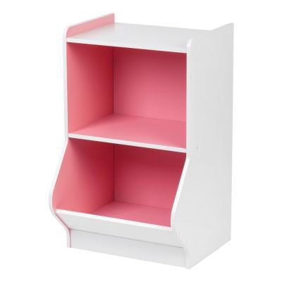 White and Pink 2-Tier Storage Organizer Shelf with Footboard