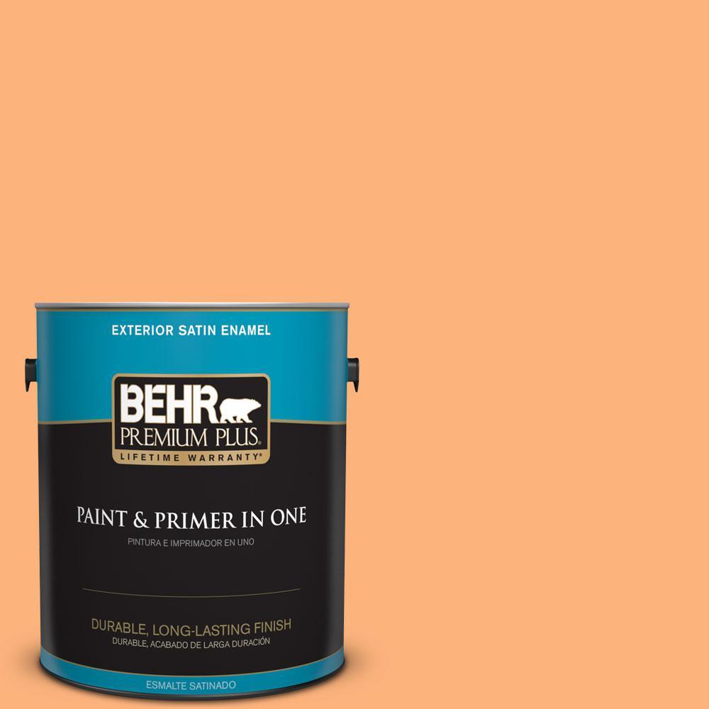 BEHR Premium Plus 1-gal. #P220-5 Fuzzy Peach Satin Enamel Exterior Paint