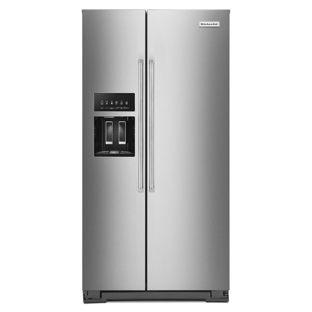 Kitchenaid 36 In W 22 6 Cu Ft Side By Side Refrigerator