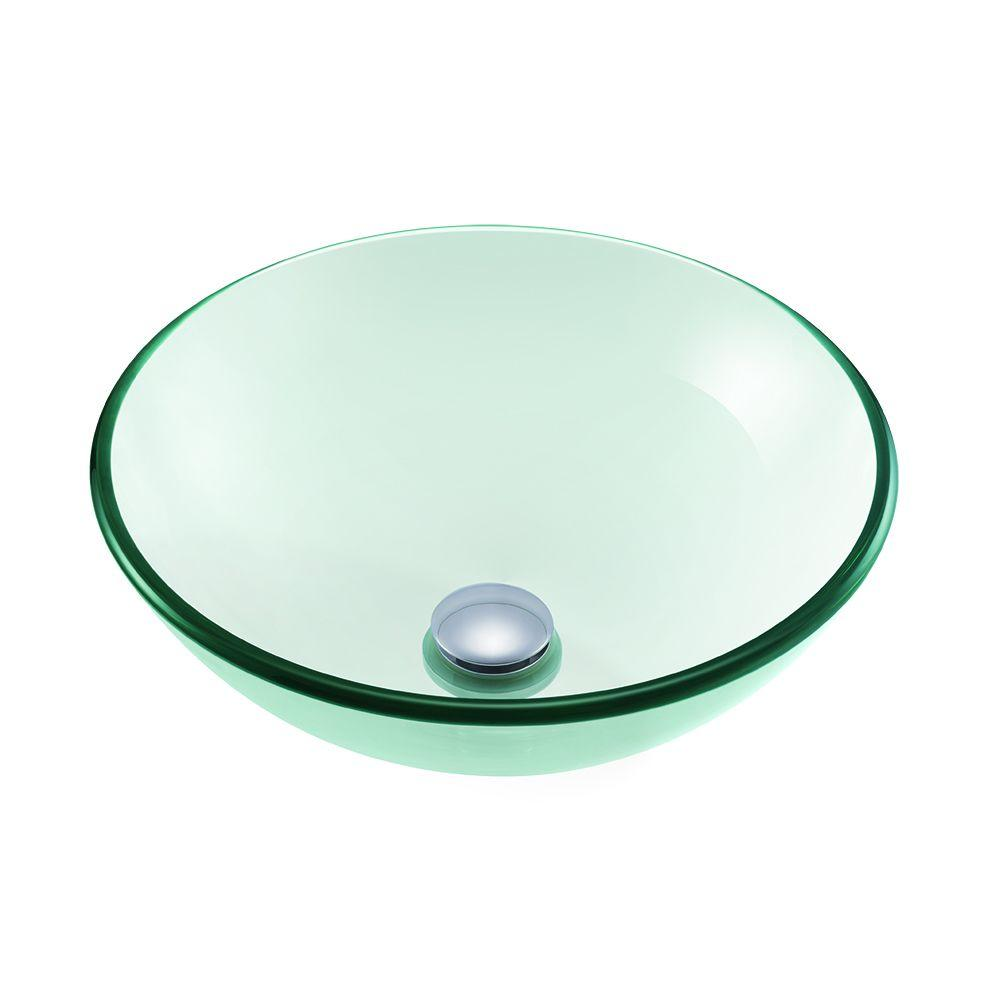 High Quality Glacier Bay Round Glass Vessel Sink In Clear