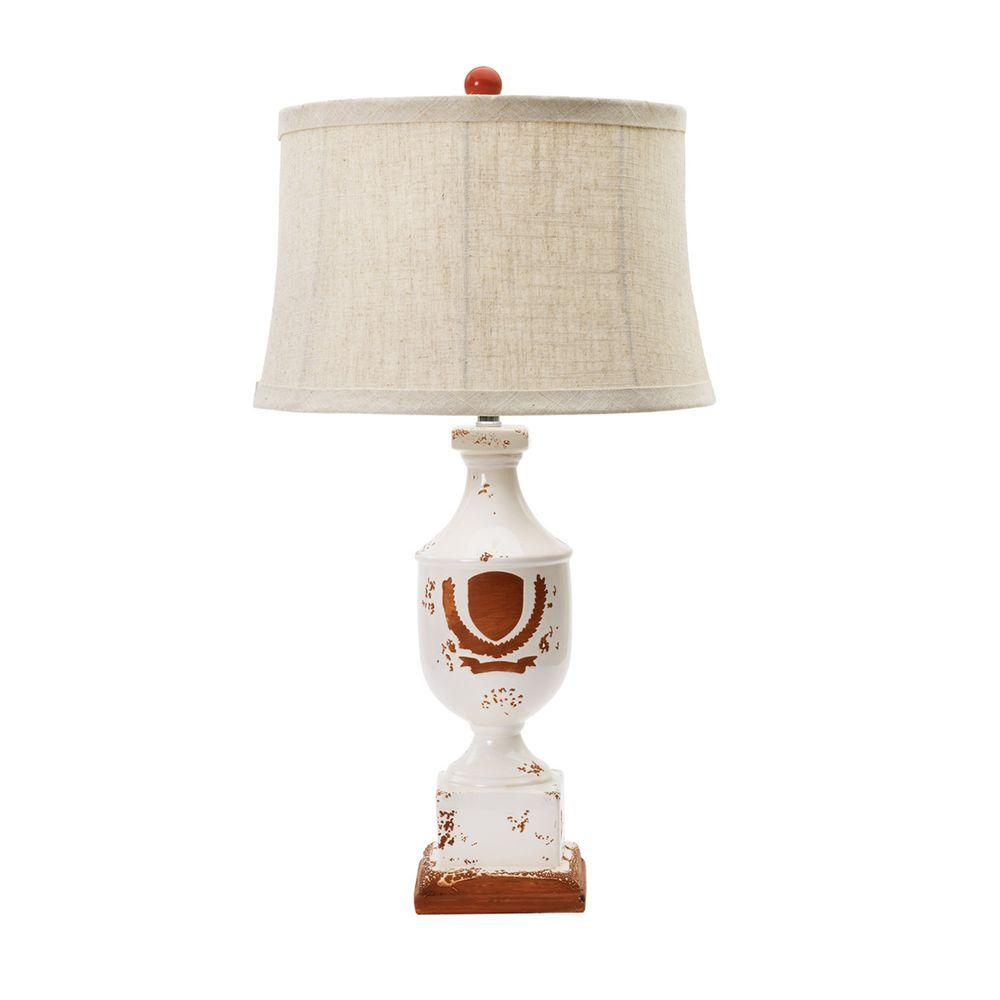 Victory Wreath On Terracotta Ceramic Table Lamp