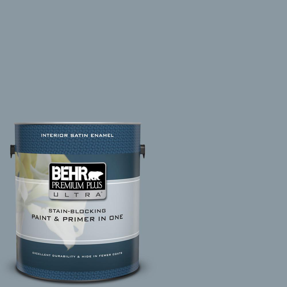N490 4 Teton Blue Satin Enamel Interior Paint And Primer In One