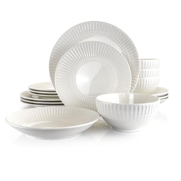 Embossed Fan 16-Piece Casual White Ceramic Dinnerware Set (Service for 4)