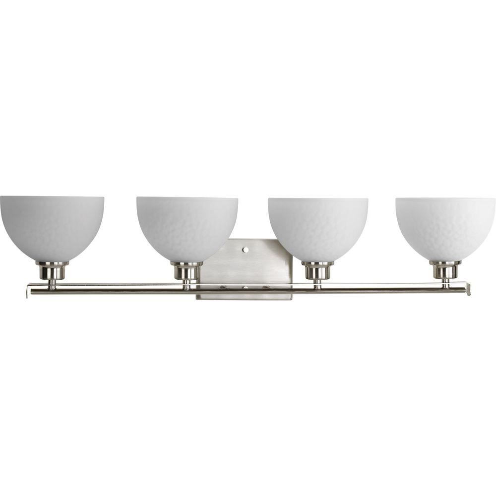Legend Collection 4-Light Brushed Nickel Vanity Light with Sculpted Glass Shades