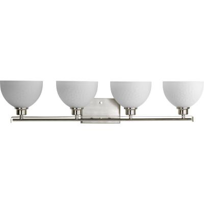 Legend Collection 4-Light Brushed Nickel Bathroom Vanity Light with Glass Shades