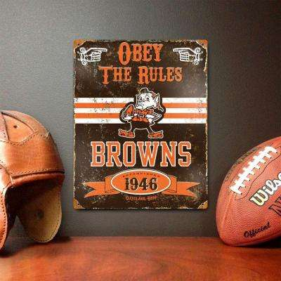 14.5 in. H x 11.5 in. D Heavy Duty Steel Cleveland Browns Embossed Metal Sign Wall Art