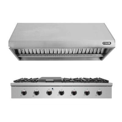 48 in. Pro-Style Gas Cooktop in Stainless Steel with 6 Burners and a Griddle Burner and Range Hood