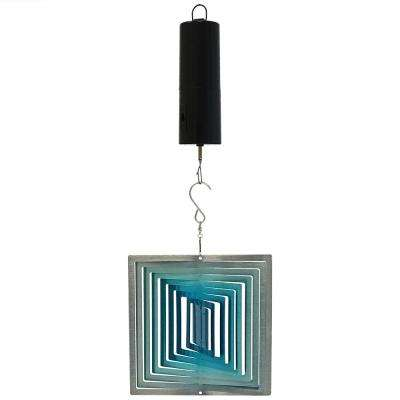6 in., 3D Ice Blue Square Wind Spinner with Battery-Operated Motor
