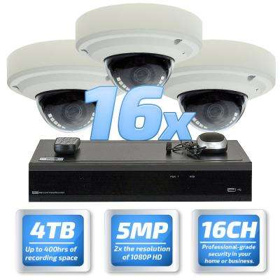 32 Channel 5-Megapixel DVR 4TB HDD Surveillance System With 16-Wired IP Cameras Vandal Proof 3.6 mm 30 ft. IR
