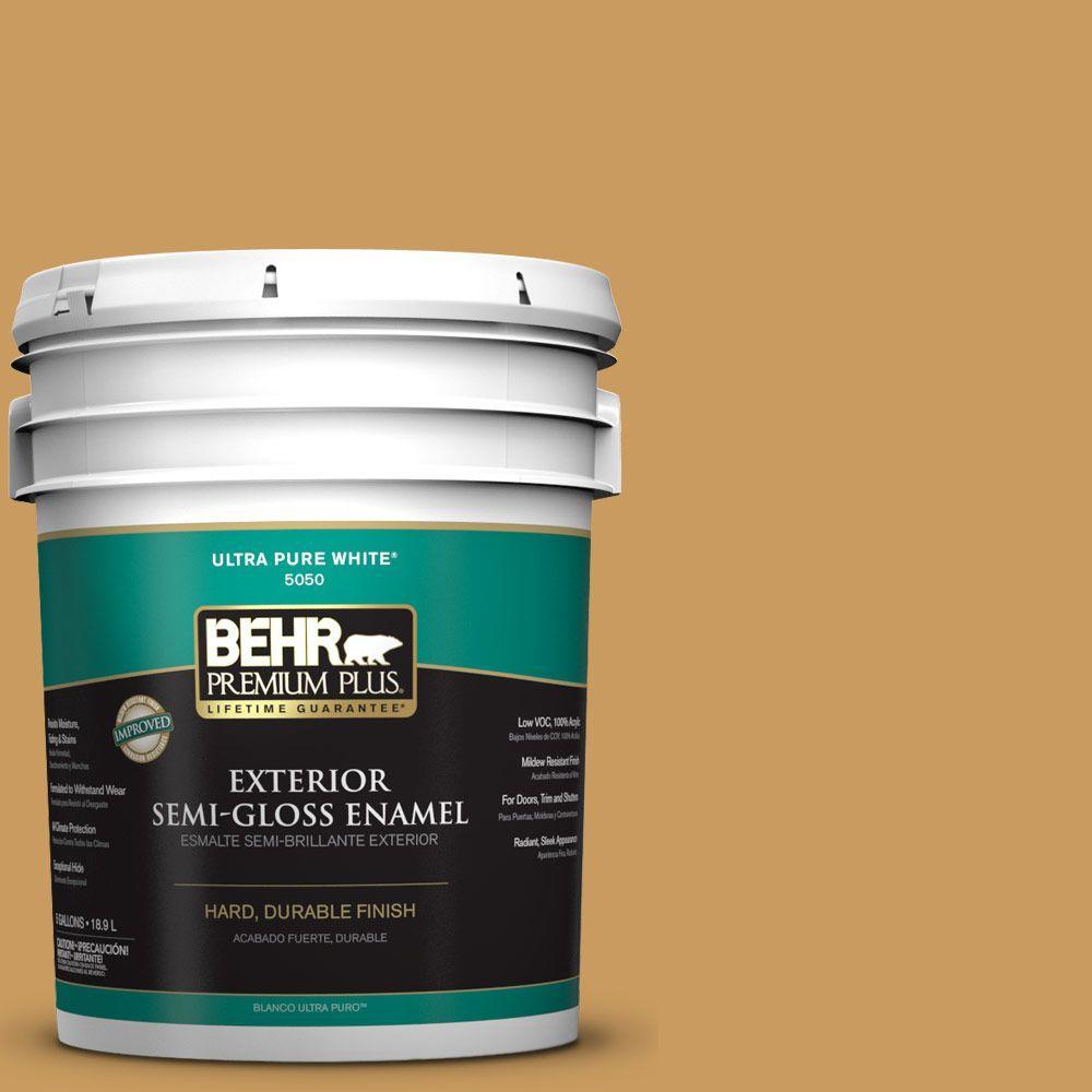 BEHR Premium Plus 5-gal. #M280-6 Solid Gold Semi-Gloss Enamel Exterior Paint