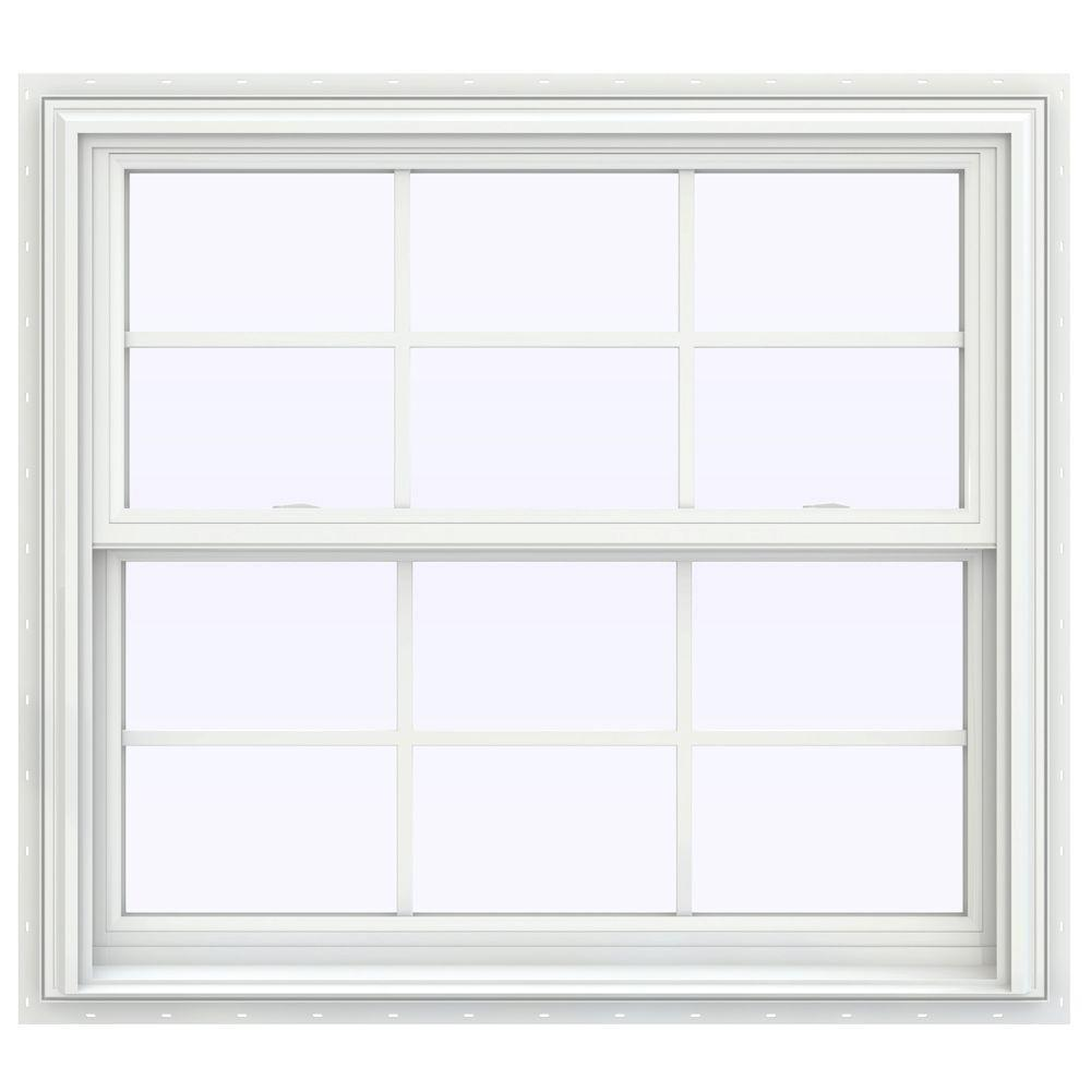 JELD-WEN 39.5 in. x 40.5 in. V-2500 Series Double Hung Vinyl Window with Grids - White