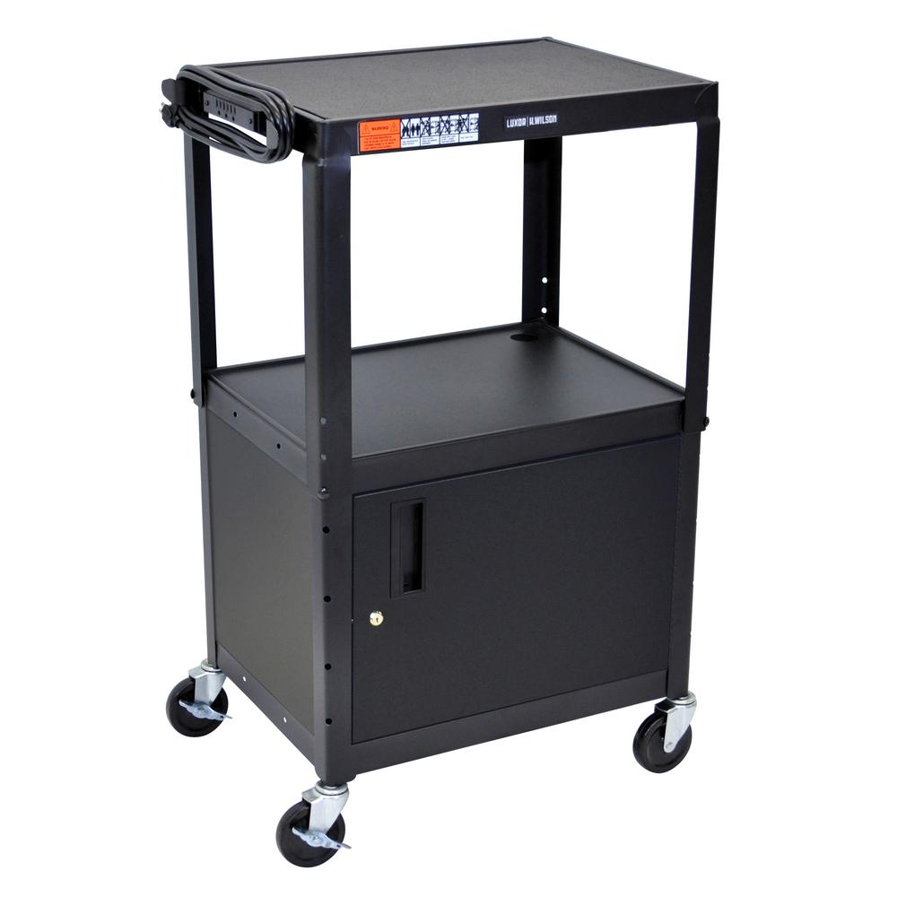 Adjustable Height 24 in. Steel A/V Cart with Cabinet in black