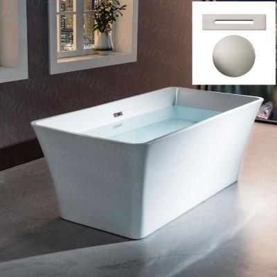 Princeton 67 in Acrylic Freestanding Double Ended Soaking Bathtub with Drain and Overflow Included in White