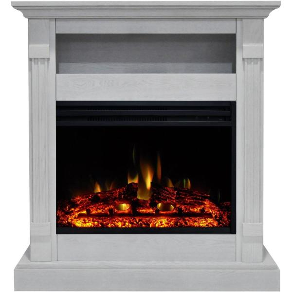 Sienna 34 in. Electric Fireplace Heater in White with Mantel, Enhanced Log Display and Remote Control