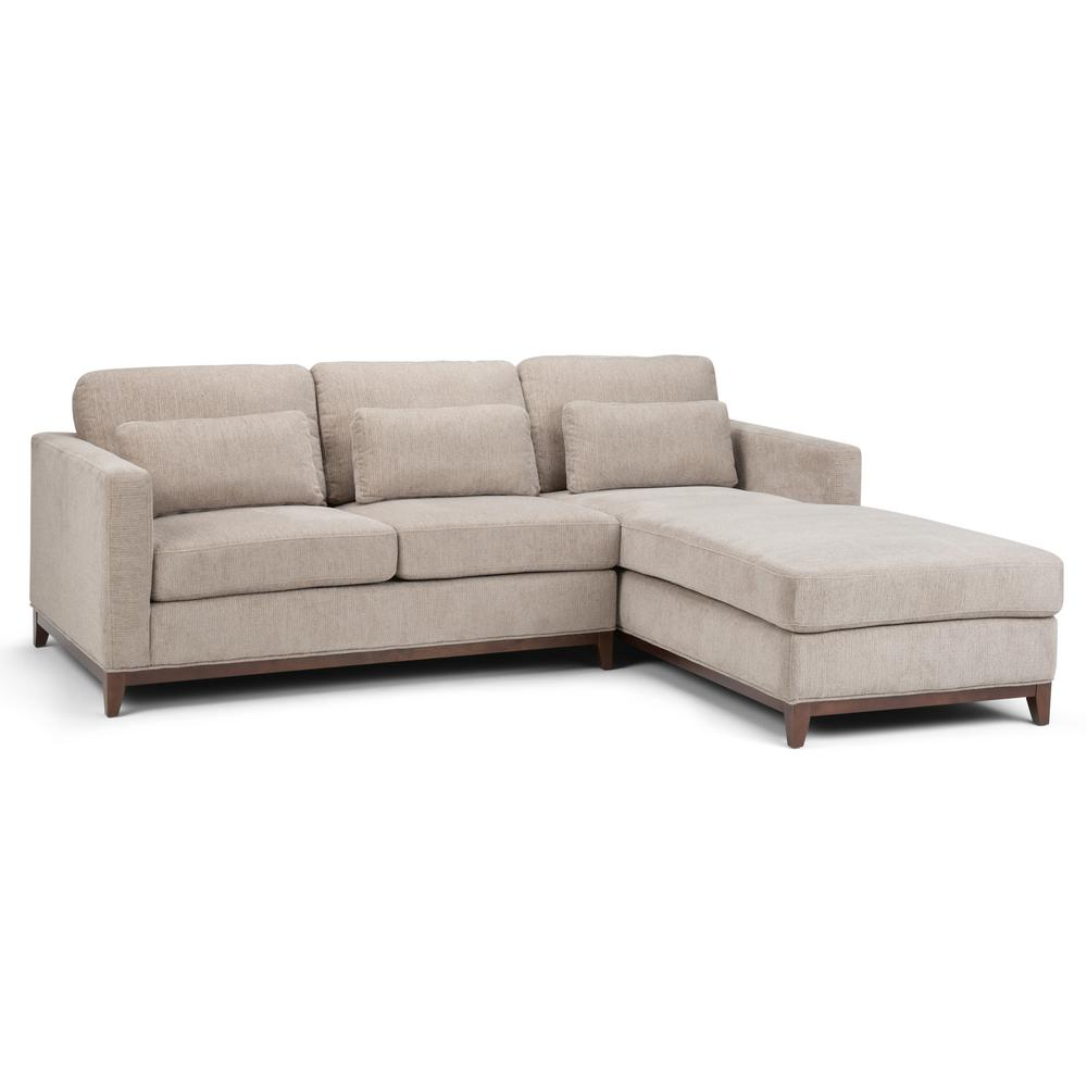 Simpli Home Fog Grey Sectional