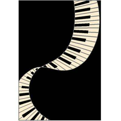 Terra Piano Black 3 ft. 9 in. x 5 ft. 6 in. Area Rug
