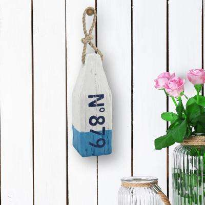 3 in. x 8 in. Blue and White Polyresin Sea Bouy