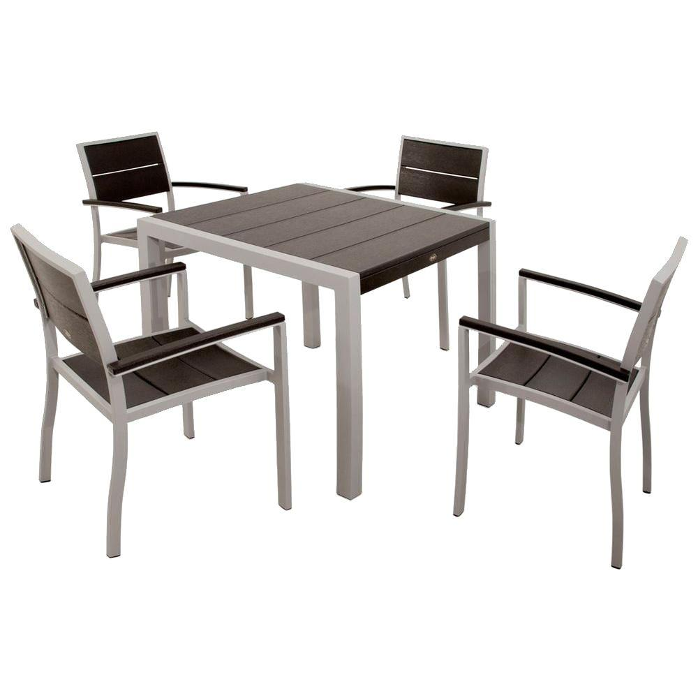 Trex Outdoor Furniture Surf City Textured Silver 5 Piece Plastic Patio Dining Set With