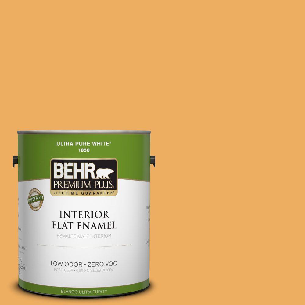 BEHR Premium Plus 1-gal. #PMD-74 Sweet Honey Zero VOC Flat Enamel Interior Paint-DISCONTINUED