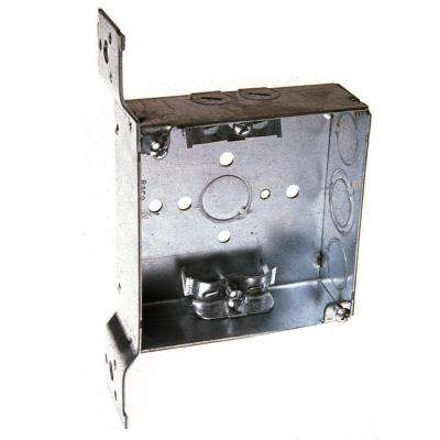 4 in. Square Box, Welded, 1-1/2 in. Deep with NMSC Clamps, Three 1/2 in. KO's and One TKO, FS Bracket, Flush (25-Pack)