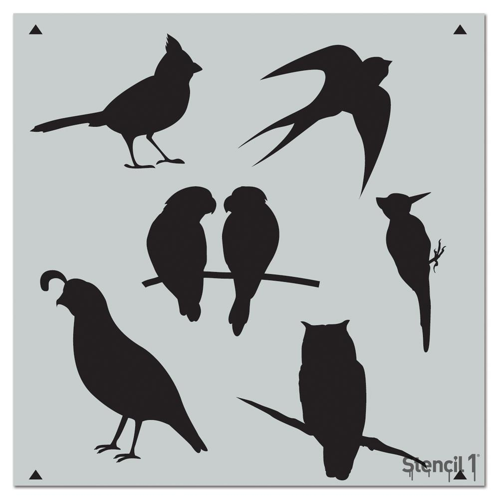 Stencil1 Fancy Birds Repeat Pattern Stencil-S1_PA_76 - The Home Depot