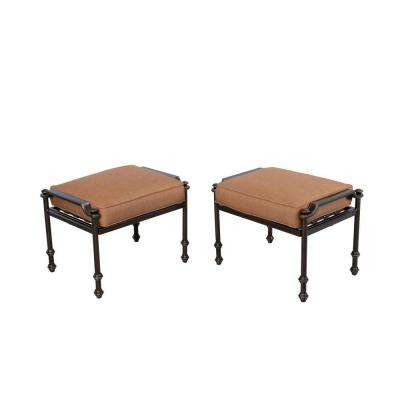 Niles Park Patio Ottomans with Cashew Cushions (2-Pack)