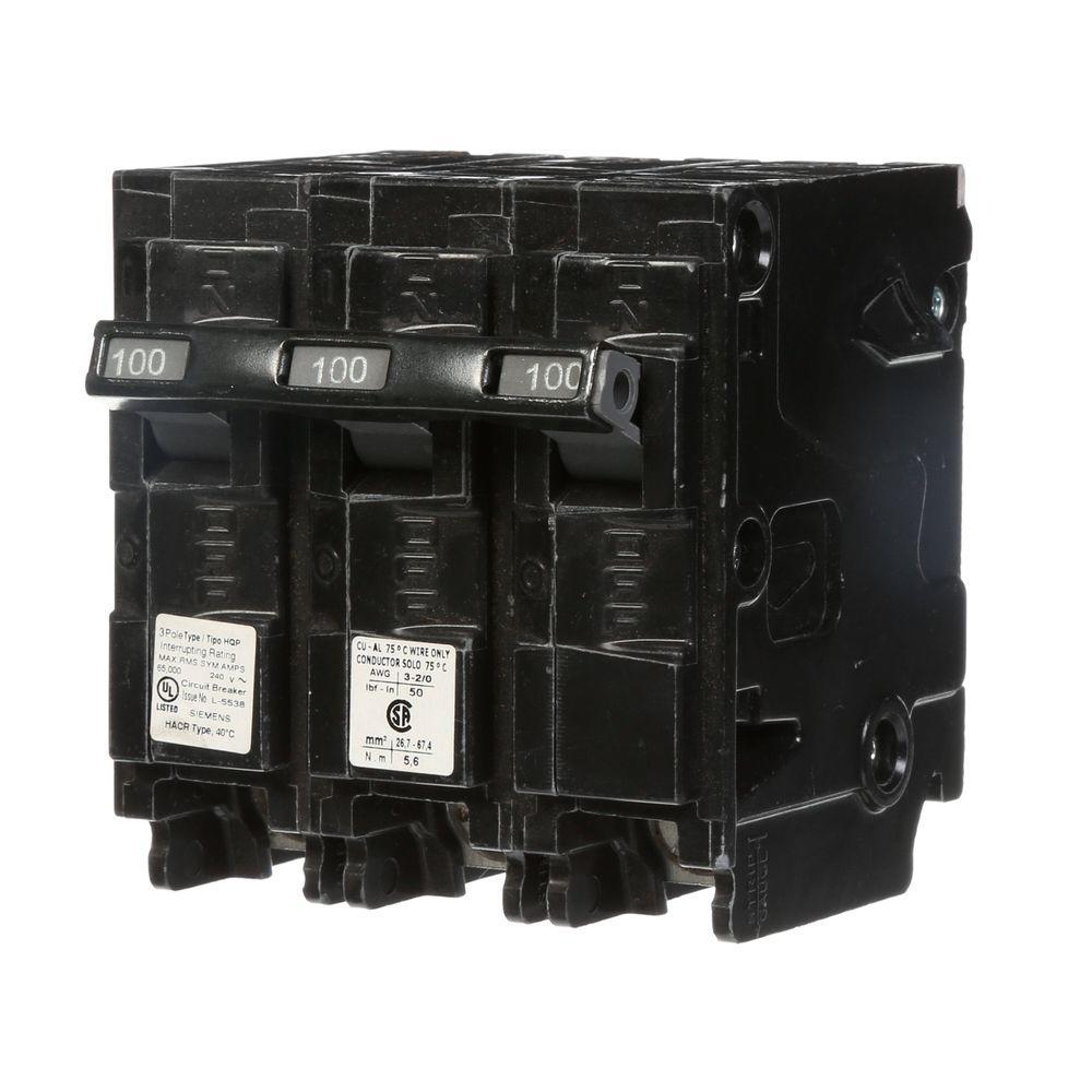 Siemens 100 Amp 3 Pole Type QP Circuit Breaker Q3100 The