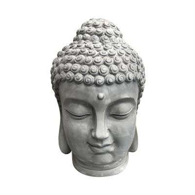 15 in. H Light Grey Lightweight Concrete Buddha Head Statue