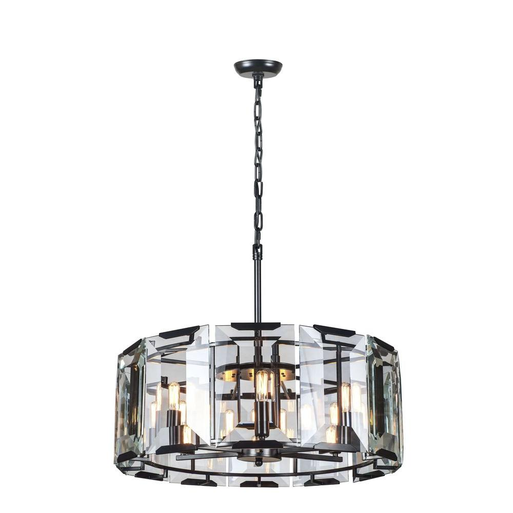 Elegant Lighting Monaco 6 Light Flat Black Matte Gl Crystal Clear Pendant