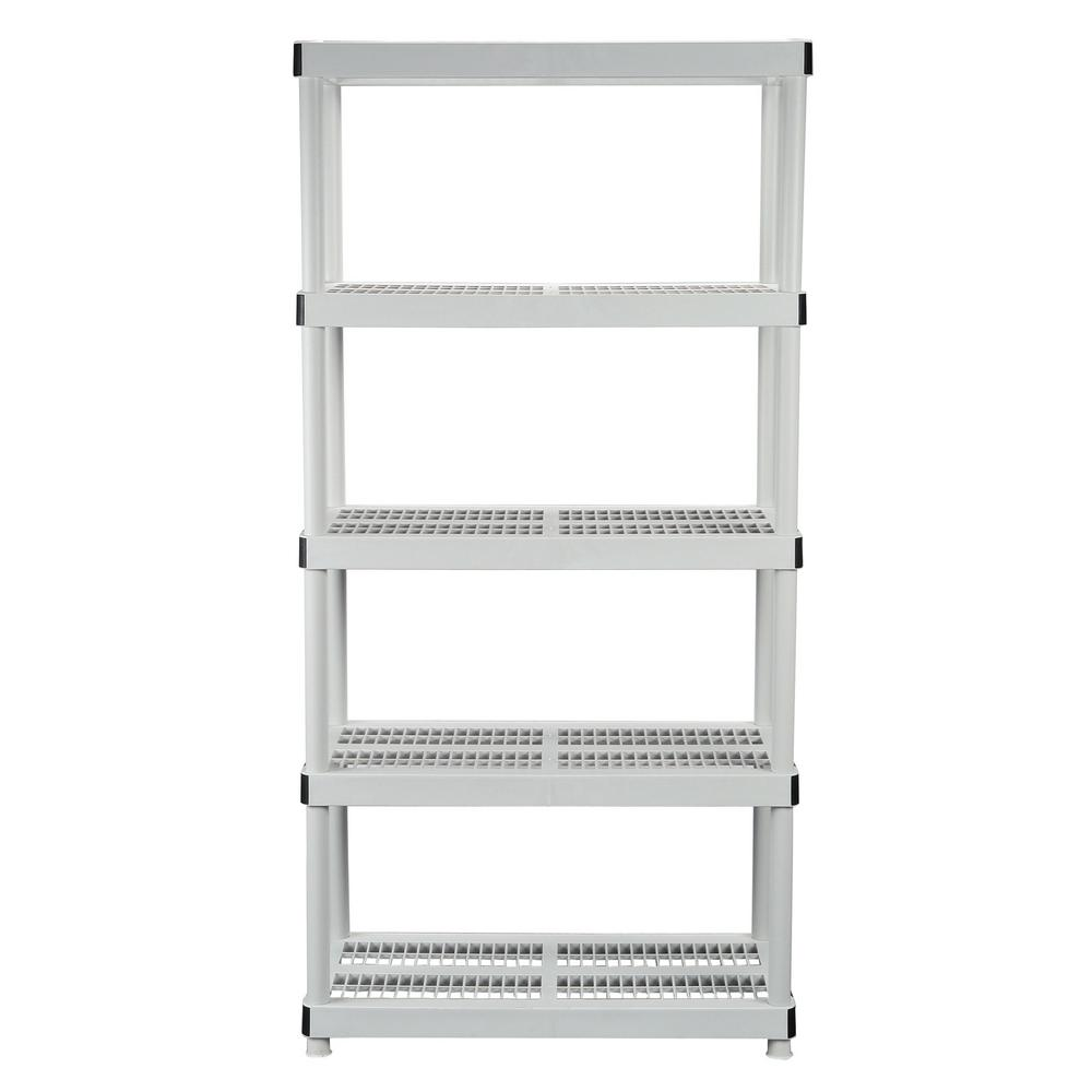 Plastic Storage Unit Ventilated Garage Shelving Rack Tier