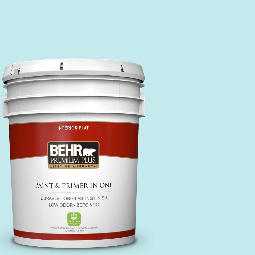 BEHR Premium Plus 5 gal. #P470-1 Silent Breeze Flat Zero VOC Interior Paint and Primer in One