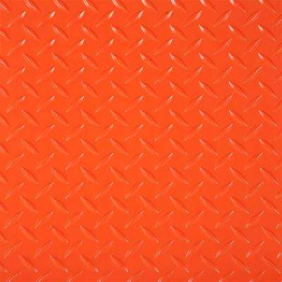 RaceDay 12 in. x 12 in. Orange Peel and Stick Diamond Tread Polyvinyl Tile (20 sq. ft. / case)