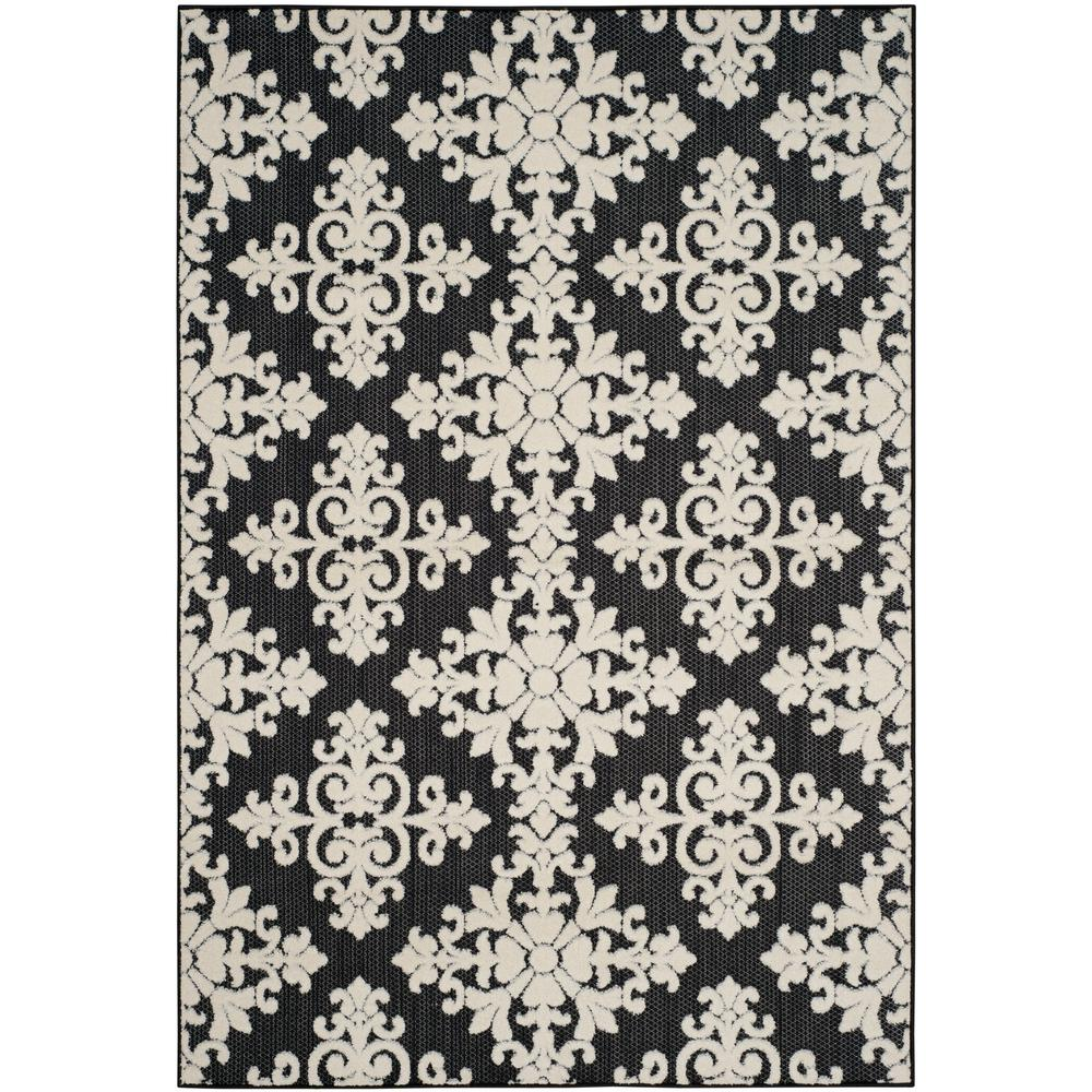 Safavieh Cottage Indoor Outdoor Black Cream 8 Ft X 11 Ft Area Rug